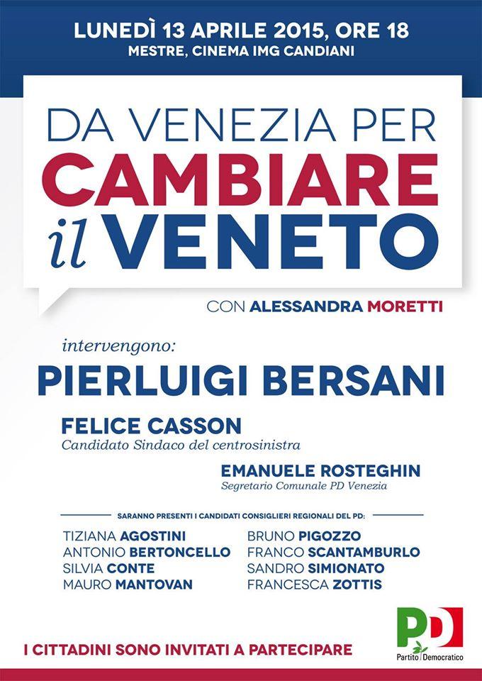 Pierluigi Bersani a Venezia con Alessandra Moretti e Felice Casson